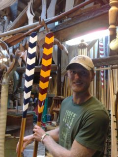 Paolo's workshop - Jes with two Venetian paddles