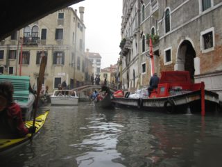 Taxi gondola and cargo boat